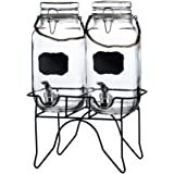 Style Setter 210255-2GB Newcastle Beverage Dispensers with Stand & Rope Handle (Set of 2), Clear