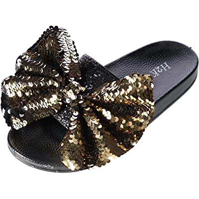H2K Women's Slide Slipper with Sequin Bow | Sandals