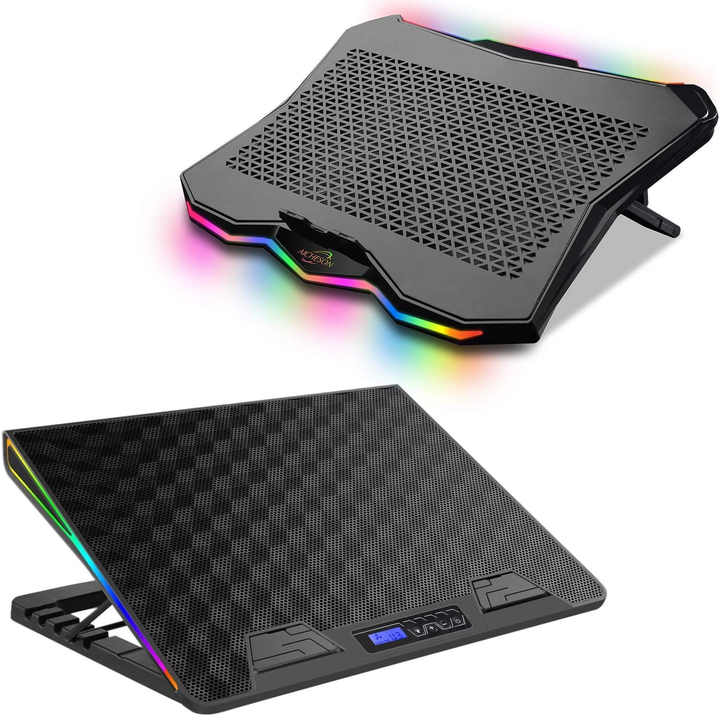 AICHESON AA2 1 Fan Heavy Laptop Cooling Cooler Pad and AA3 1 Big Fan Rainbow Lights Laptop Cooling Cooler
