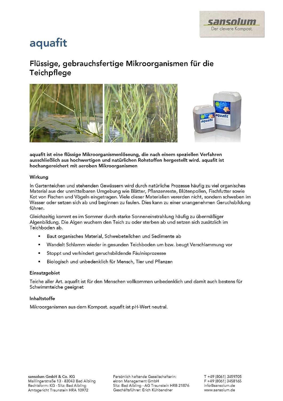 Aquafit - Extracto de compostaje para cuidado Estanque Biológico ...