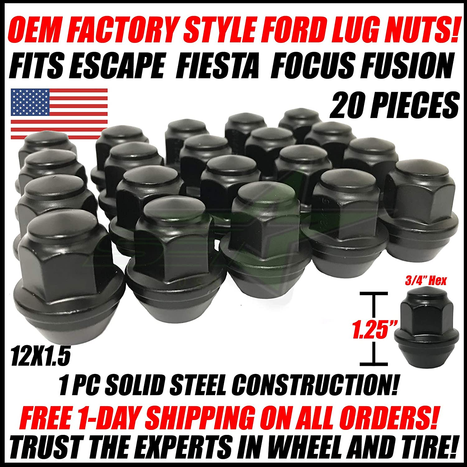 20x 12x1.5 Black OEM Factory Style Lug Nuts for Ford Fusion Focus Stock Wheels