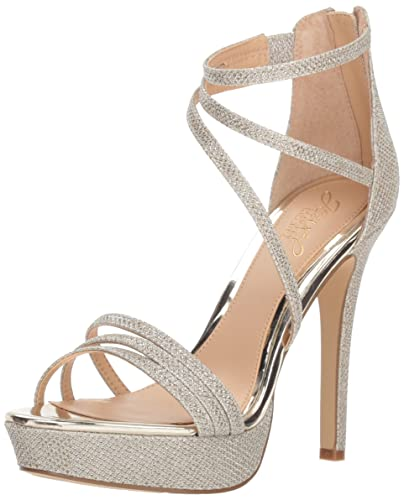 f528cc85a5ea Badgley Mischka Jewel Women s Maeva Heeled Sandal Gold Glitter 7.5 ...