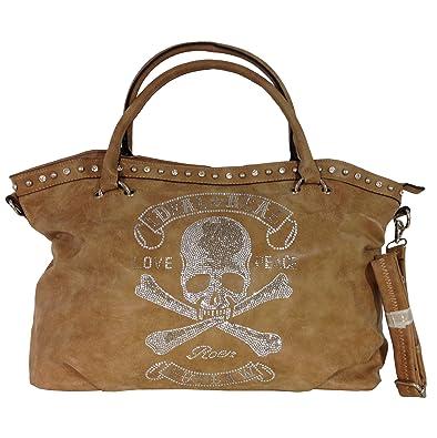 929a2f1ffe915 TOTENKOPF skull Hand Tasche Schultertasche Umhängetasche Beuteltasche  Shopper XL (Khaki (verwaschen))