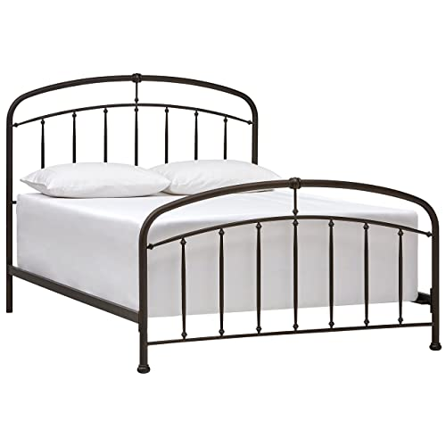 Stone Beam Corsa Contemporary Metal Bed with Headboard, King, 81 W, Dark Bronze
