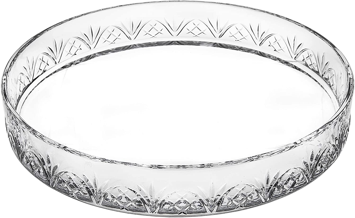 Godinger Round Glass Serving Tray Platter - Dublin Crystal Collection