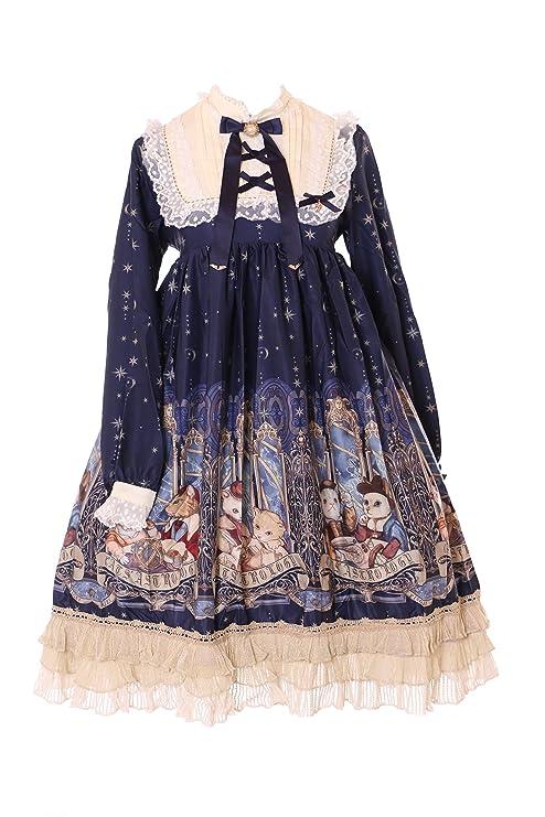 Kawaii-Story jsk DE 32 – 1 Azul Gatos Cat Astrology Horóscopo Pastel Gothic Lolita