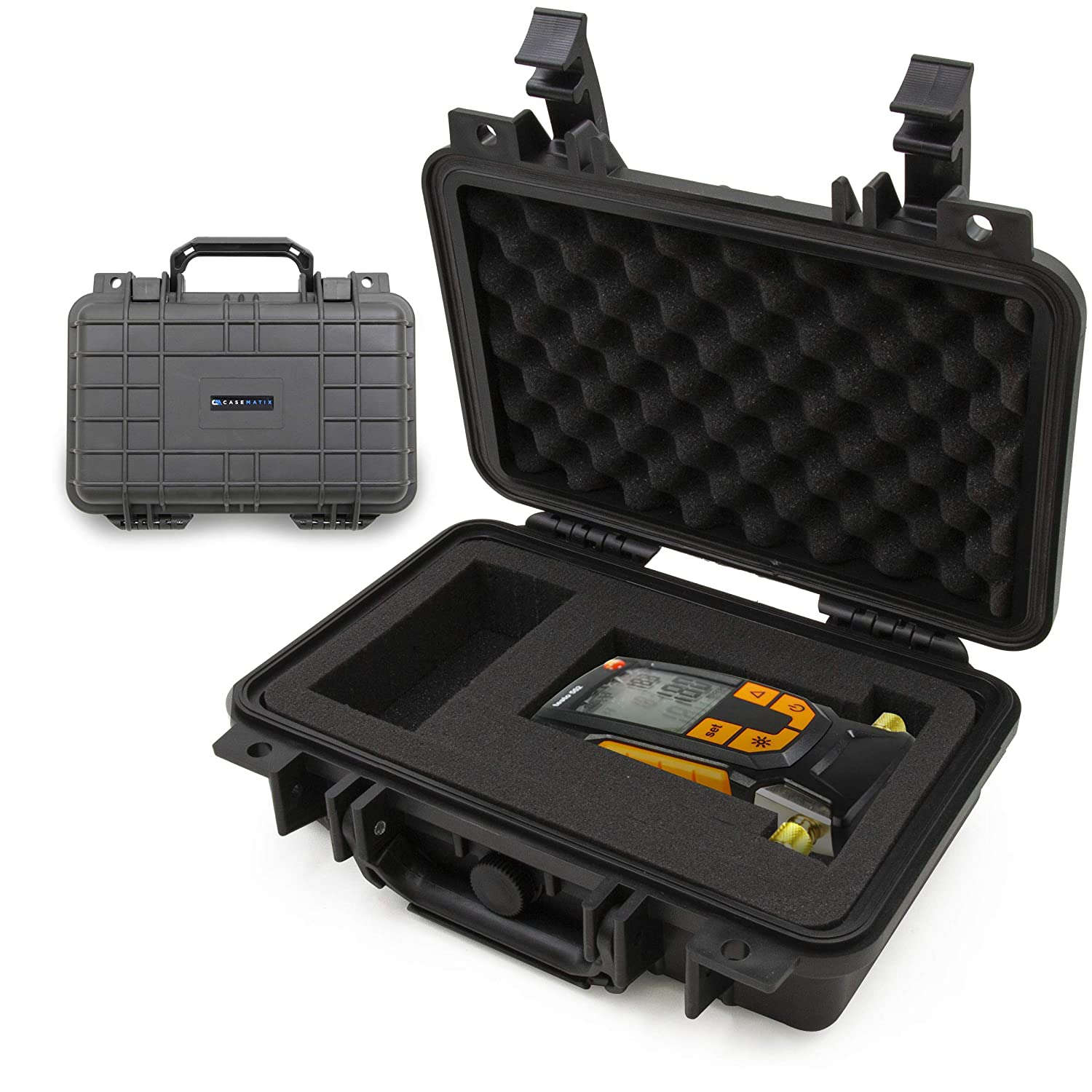 CASEMATIX Travel Case Compatible with Testo 552 Digital Vacuum Gauge - Hard Shell Waterproof Micron Gauge HVAC Carrying Case with Customizable Foam Interior, Folding Carry Handle and Accessory Storage