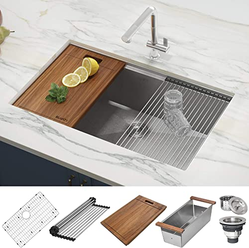 Ruvati 32-inch Workstation Ledge Tight Radius Undermount 16 Gauge Kitchen Sink Single Bowl – RVH8301