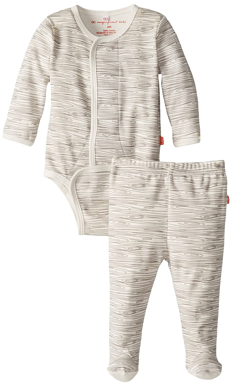 Magnificent Baby Unisex-Baby Newborn Long Sleeve Burrito Pant Set, Birch, 3 Months 1539U