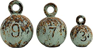 Creative Co-op Heavily Distressed Round Resin Weights with Handles (Set of 3 Sizes)
