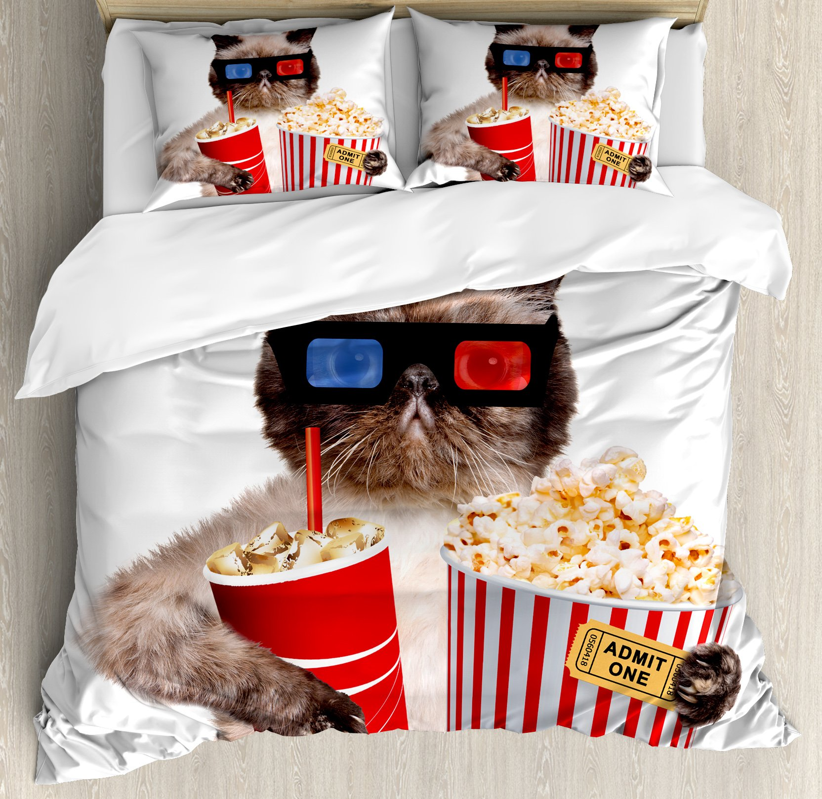Movie Theater Decor Queen Size Duvet Cover Set by Ambesonne, Cat with Popcorn and Drink Watching Movie Glasses Entertainment Cinema, Decorative 3 Piece Bedding Set with 2 Pillow Shams, Multicolor by Ambesonne
