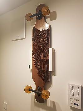 Clipboart /® Standard Wandhalterung wei/ß f/ür Longboard Snowboard Wakeboard Halterung Wandmontage Wandhalter Halter Holz horizontal vertikal diagonal Clipboard