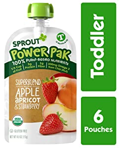 Sprout Organic Baby Food, Stage 4 Toddler Pouches, Apple Apricot & Strawberry Power Pak, 4 Oz Purees (Pack of 6)