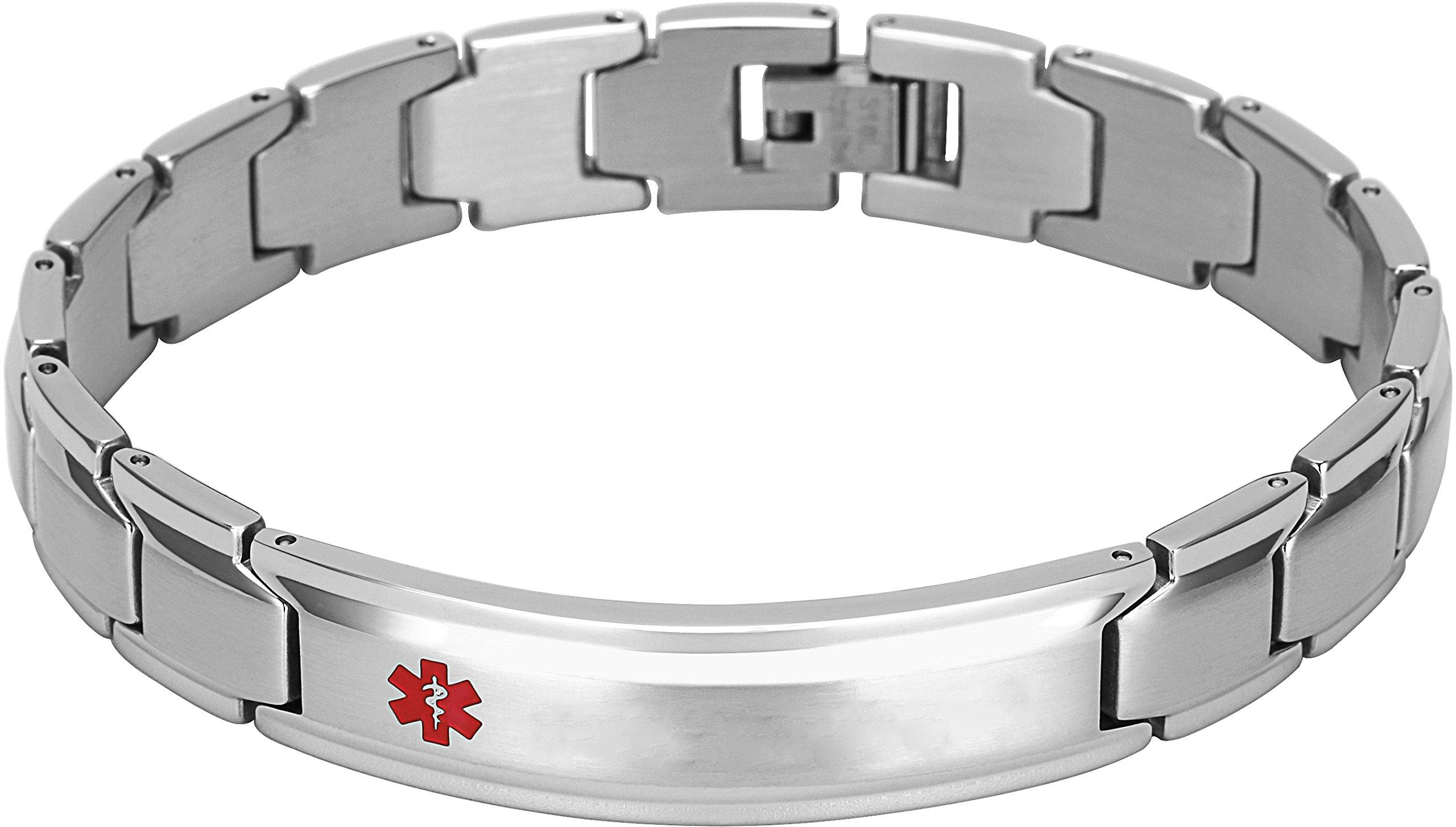 Elegant Surgical Grade Steel Medical Alert ID Bracelet for Men and Women (Men's, Blank/Empty} No Message) by Smarter LifeStyle