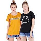 Broadstar Women Cotton Mstrd, Black T-Shirt (Pack of-2 Combo)