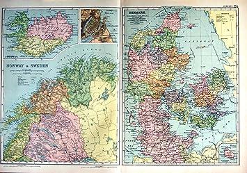 Karte Norwegen Schweden.1910 Karte Dänemark Norwegen Schweden Kopenhagen Island Amazon De