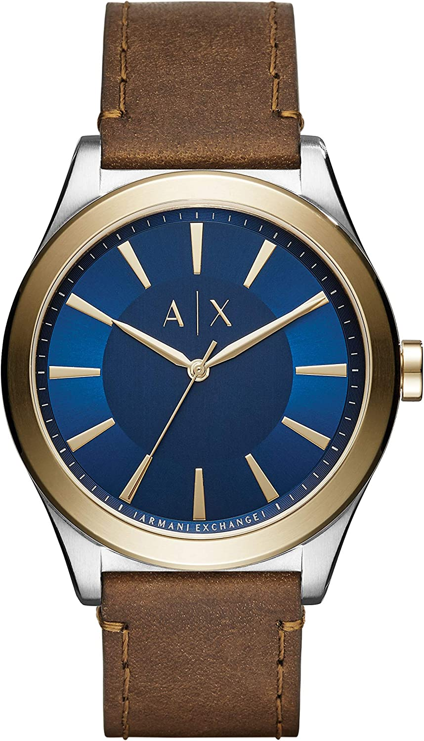 A:X Men's Brown Leather Watch AX2334