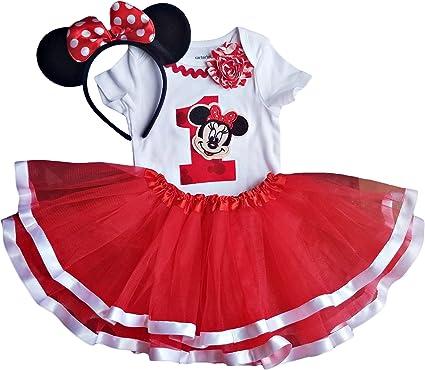 Amazon.com: Disfraz de Minnie Tutu para primer cumpleaños + ...