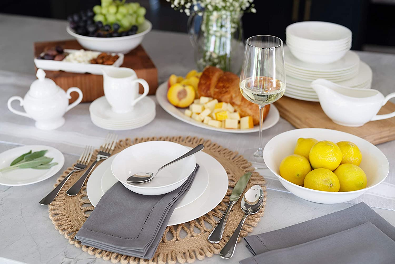 White 10 Strawberry Street BONE-3200RD Bone China 32 Piece Dinnerware Set Service for 6