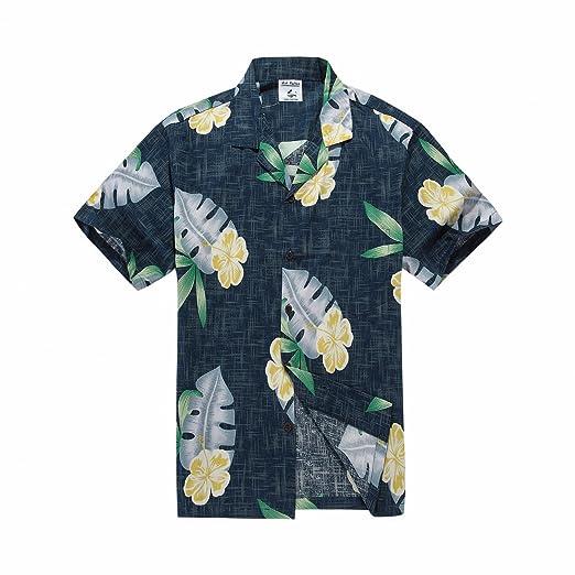 253f56972e067 Men s Hawaiian Shirt Aloha Shirt in Navy Hibiscus Leaves Large at ...