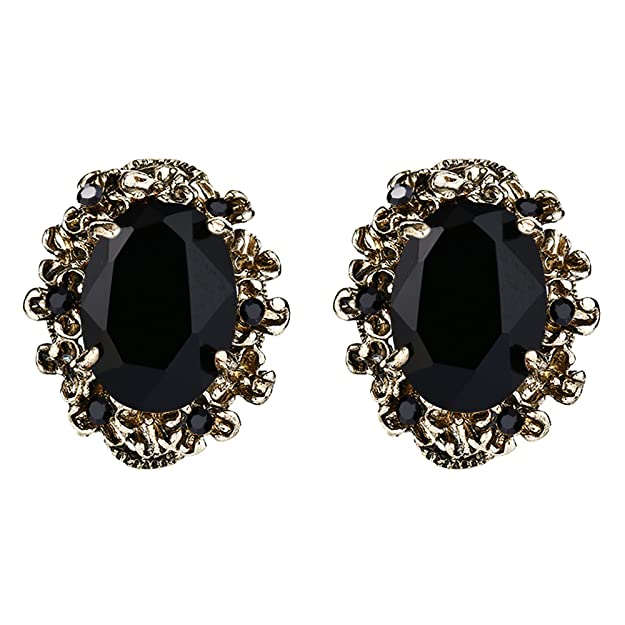Victorian Costume Jewelry to Wear with Your Dress BriLove Womens Victorian Style Crystal Floral Scroll Cameo Inspired Oval Stud Earrings $13.99 AT vintagedancer.com