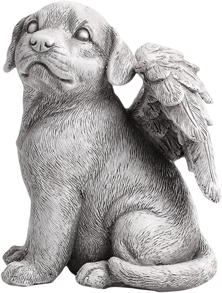 Napco Winged Dog Angel Concrete Look 6 x 8.25 Resin Garden Figurine