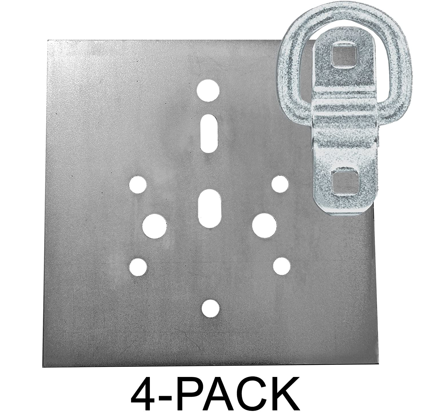 Heavy Duty USA Tiedown Anchors With Backing Plates, Surface Mount D-Ring 6,000 lb. Capacity, 12-Pack Buyers Products 80138-06-12B