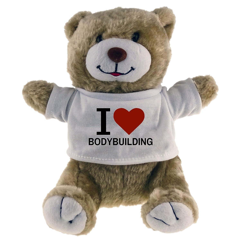 Multifanshop Kuscheltier Bär Classic I Love Bodybuilding beige - Lustig Witzig Sprüche Party Stofftier Püschtier