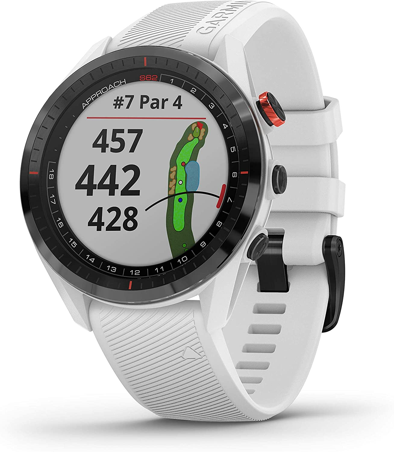 Garmin Approach S62, Premium Golf GPS Watch, Built-in Virtual Caddie, Mapping and Full Color Screen, White