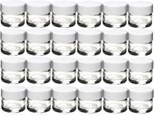 Premium Vials, 50 pcs, Glass Concentrate Jars with White Lids - Air Tight Medical Marijuana Cannabis Concentrate Containers (White Caps)