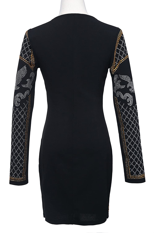 ee42e6d9aaba Moniku Women's Long Sleeve Halter Studded Casual Mini Dress with Zipper  Black at Amazon Women's Clothing store: