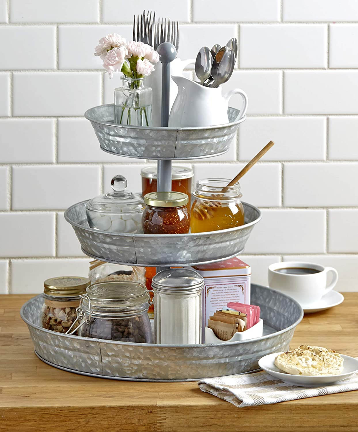 GetSet2Save BM164575 Vintage Galvanized 3 Tier Serving Tray Rustic Country Farmhouse Kitchen, one size, Silver