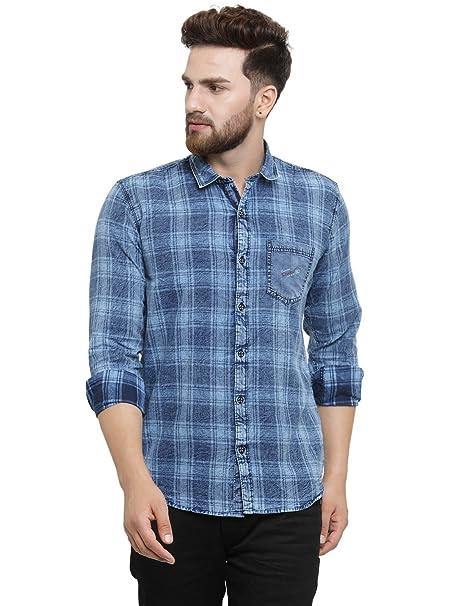 14b74ea227 Kivon Men s Full Sleeve Checkred Casual Shirt Blue (Size M)  Amazon ...