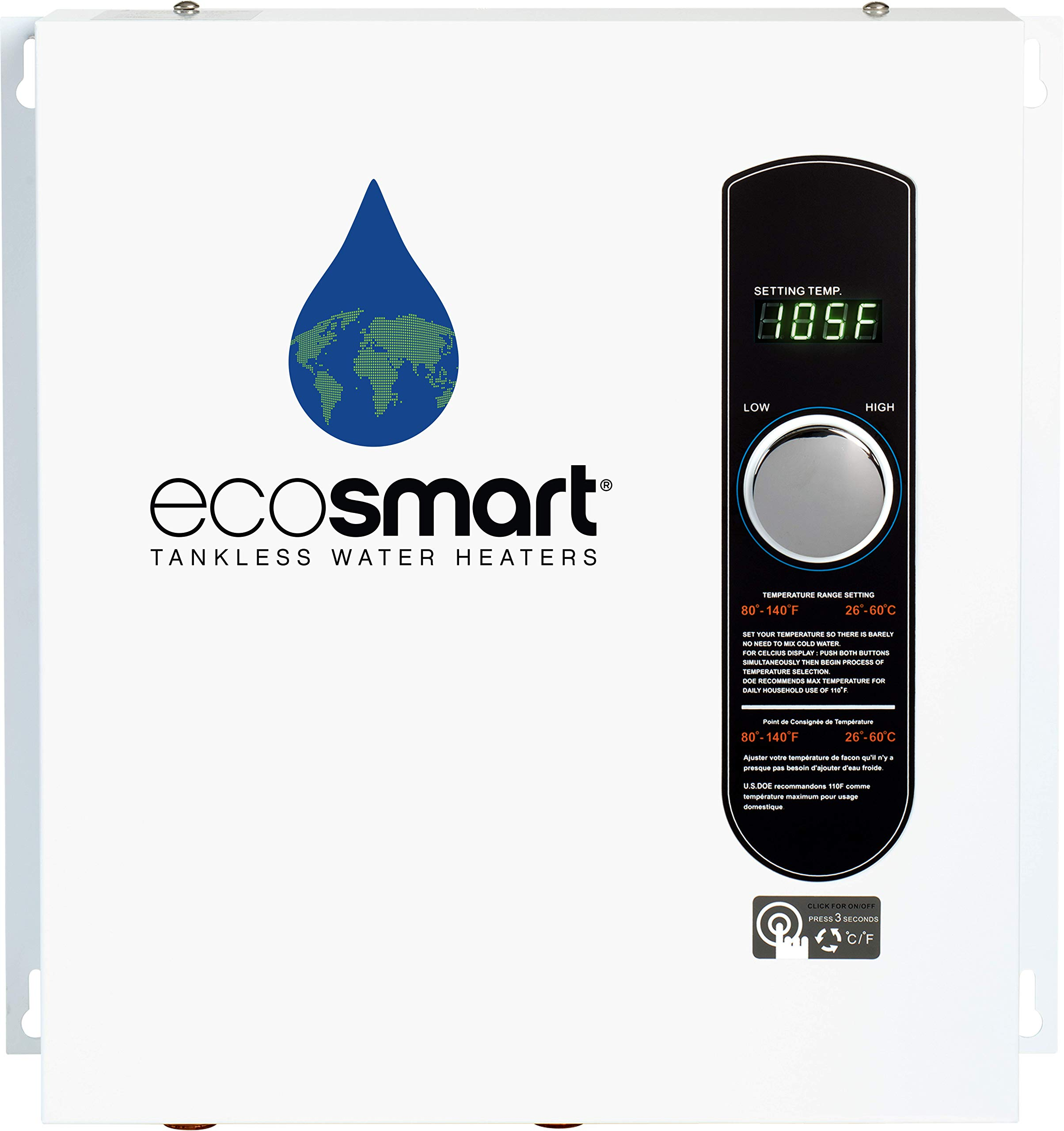 EcoSmart ECO 27 Electric Tankless Water Heater, 27 KW at 240 Volts, 112.5 Amps with Patented Self Modulating Technology by Ecosmart