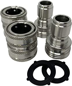 ESSENTIAL WASHER Garden Hose Quick Connect Set - Solid Stainless Steel 3/4 Inch Quick Connect Garden Hose Fittings