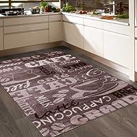 VIMODA Coffee Design Teppich, Kaffee Muster in Beige ideal für die Cafe Lounge oder Küche, spiegelverkehrt - ÖKO TEX Zertifiziert, Maße:80x250 cm