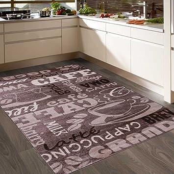 VIMODA Coffee Design Teppich, Kaffee Muster in Beige ideal für die Cafe  Lounge oder Küche, spiegelverkehrt - ÖKO TEX Zertifiziert, Maße:200x280 cm