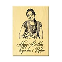 Happy Birthday Gift - Heart Shaped Wooden Engraved Photo