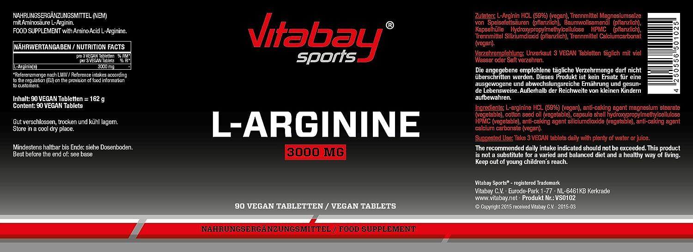 L-arginine 3000 dosis altas - 90 tabletas producto de calidad alemana, adecuado para personas alérgicas: Amazon.es: Salud y cuidado personal