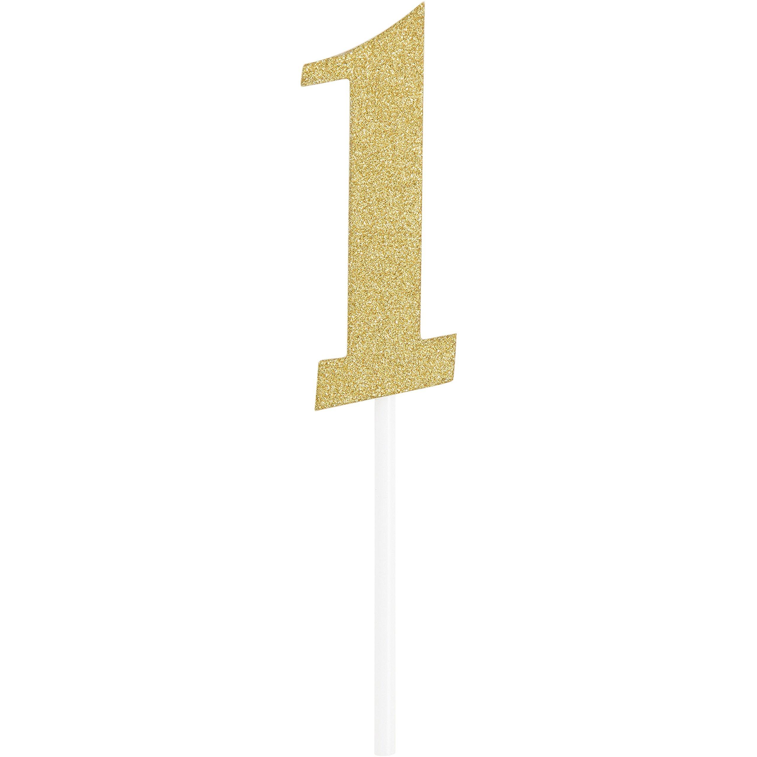 Creative Converting 324542 Gold Glitter# 1 Cake topper 6'' x 1 1/4'',
