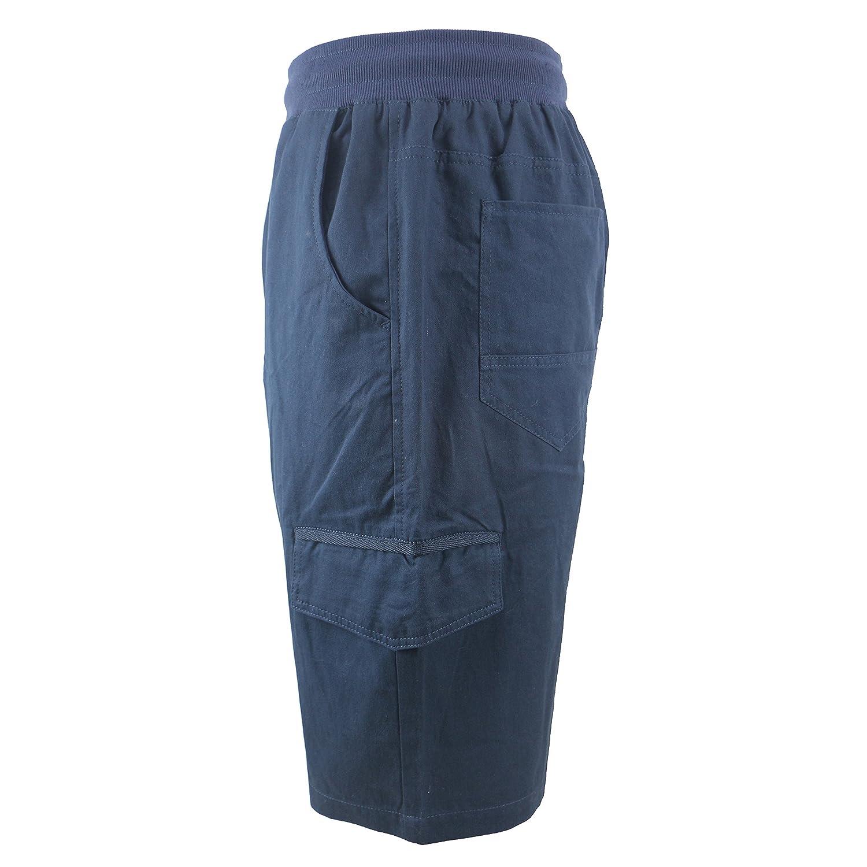 0564090076 TanBridge Men's Cotton Cargo Shorts with Pockets Loose Fit Outdoor Wear Twill  Elastic Waist Shorts | Amazon.com
