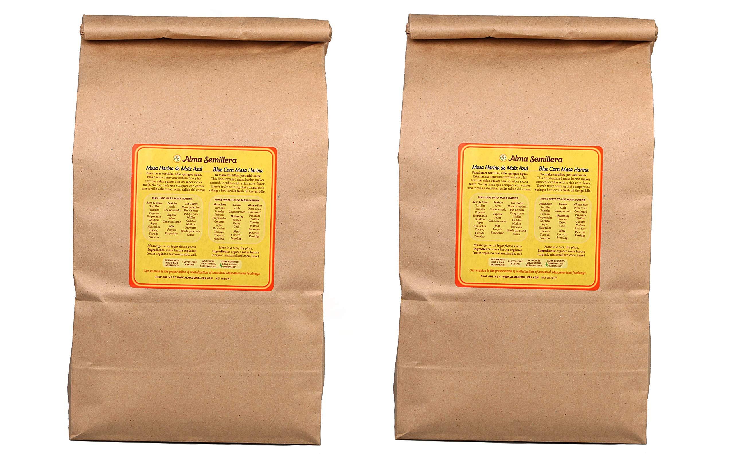 ALMA SEMILLERA Blue Corn Masa Harina - Non-GMO, Gluten Free, Vegan, Fine Texture (5lb - 2 Pack) by Alma Semillera
