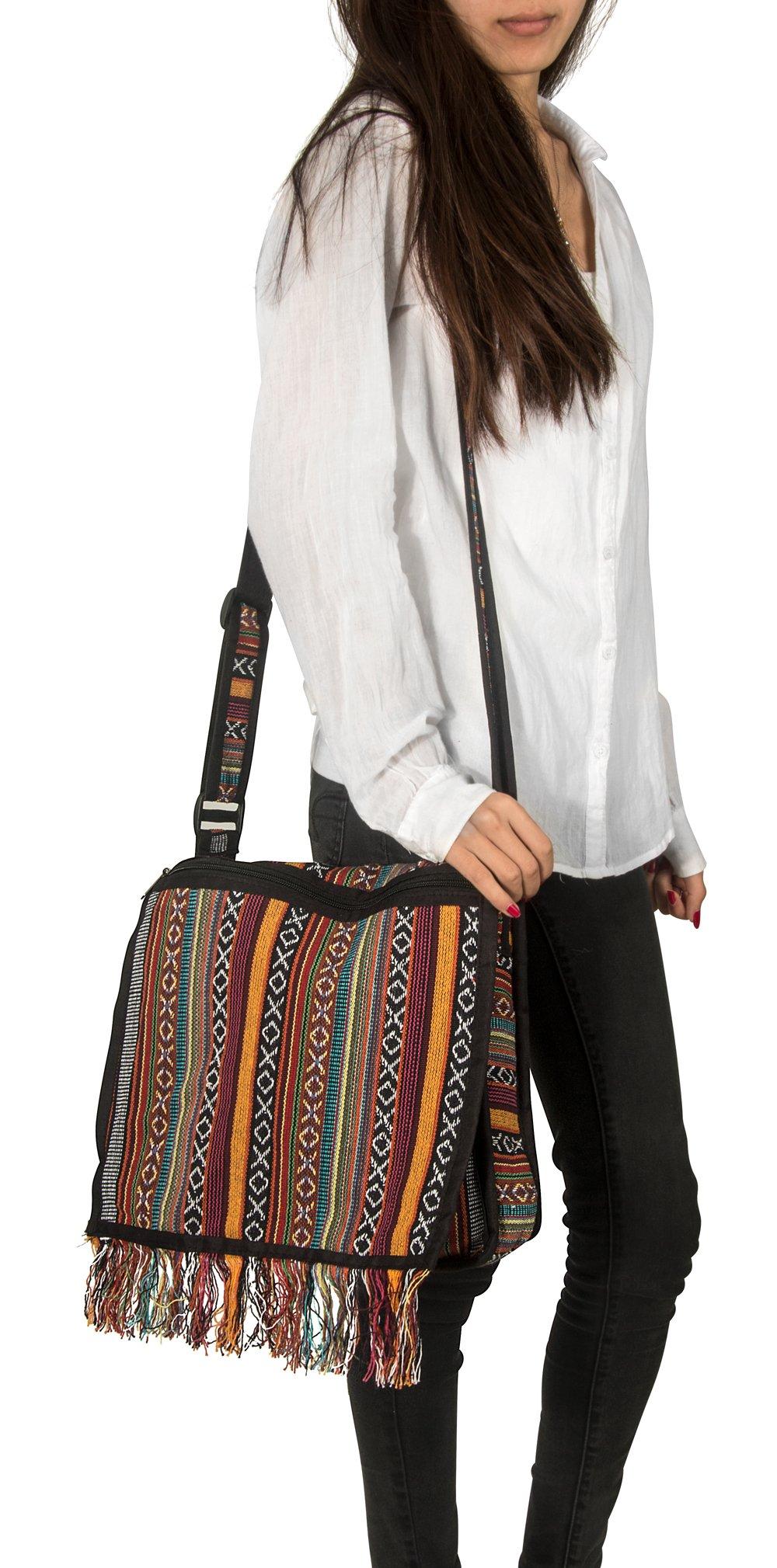 Tribe Azure Woven Adjustable Strap Shoulder Bag Hobo Messenger Women Fashion Handbag Unique Roomy Tassel (Woven Red)