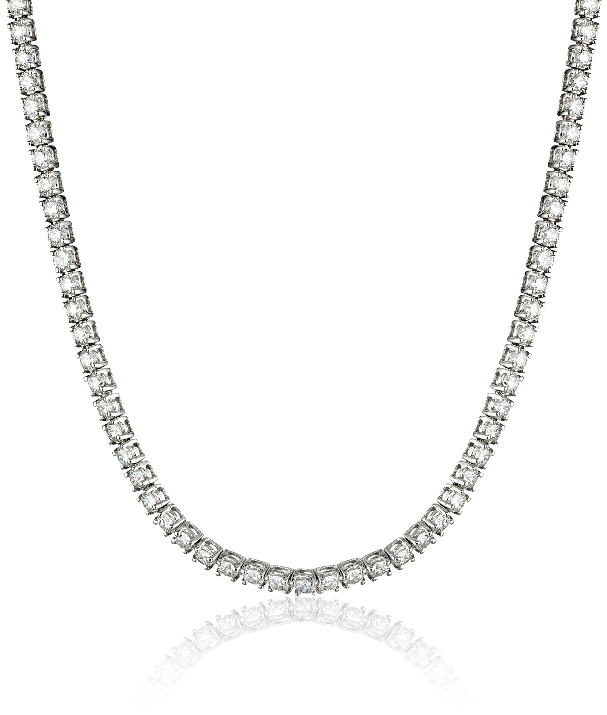 IGI Certified 14K White Gold and Diamond Tennis Necklace (9.00 cttw, H-I Color, I1 Clarity), 17''