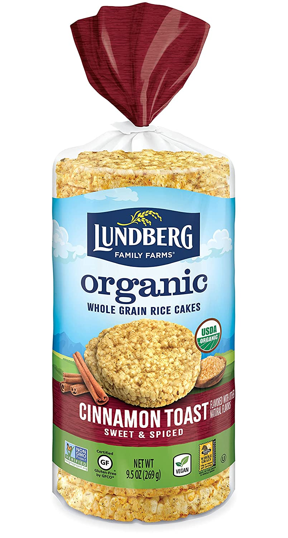 Lundberg Organic Brown Rice Cakes, Cinnamon Toast, 9.5oz, Gluten-Free, Vegan, Whole Grain, Kosher, USDA Certified Organic, Non-GMO Verified
