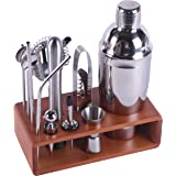 MAISON HUIS Bartender Kit 13-Piece Bar Tool Set with Stylish Bamboo Stand Perfect Home Bartending Kit and Martini Cocktail Sh