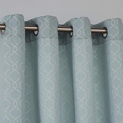 Deconovo Lot de 2 Rideau Chambre Adultes Rideaux Salon Design Moderne  Rideau Decoratif à Oeillets pour Chambre 140x175cm Bleu Ciel