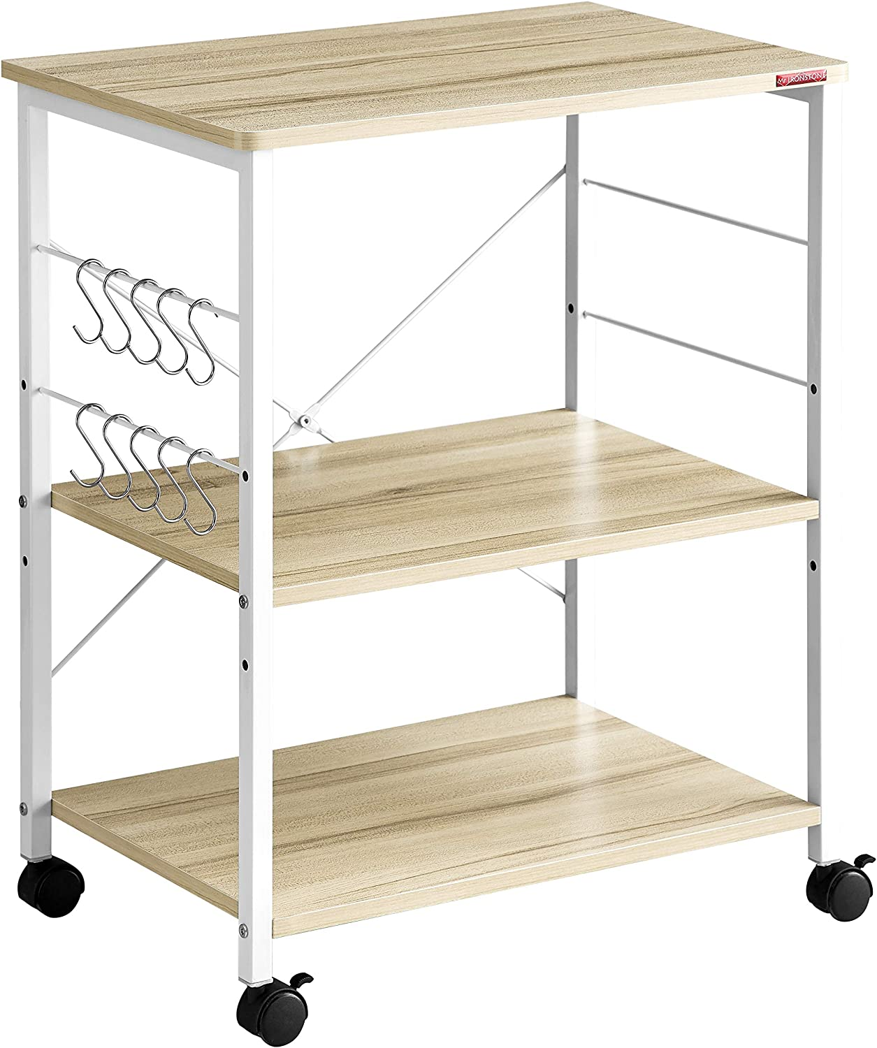 Mr IRONSTONE 3-Tier Kitchen Baker s Rack Utility Microwave Oven Stand Storage Cart Workstation Shelf Light Beige Top White Metal Frame