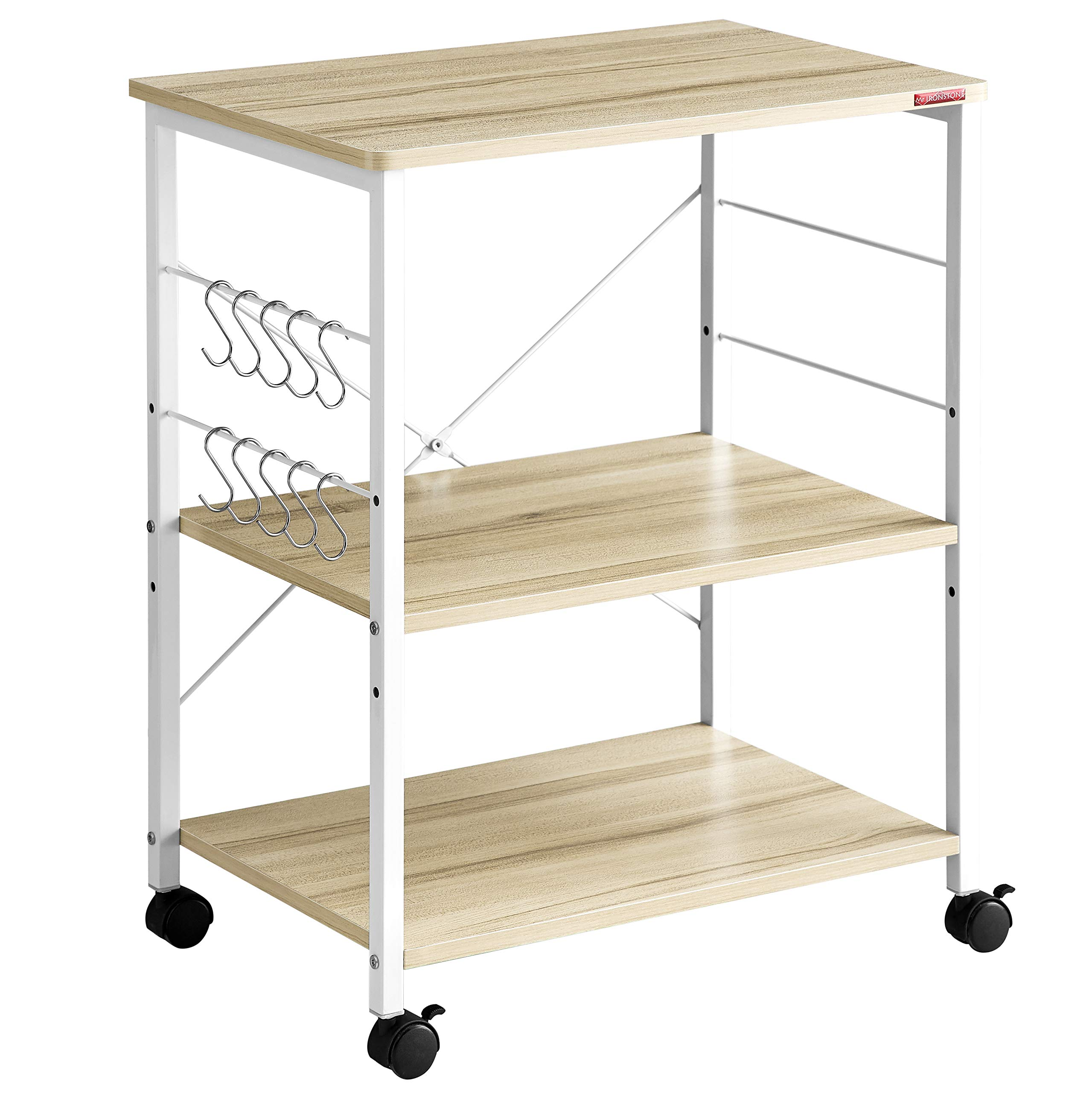 Mr IRONSTONE 3-Tier Kitchen Baker's Rack Utility Microwave Oven Stand Storage Cart Workstation Shelf(Light Beige Top+White Metal Frame) by Mr IRONSTONE