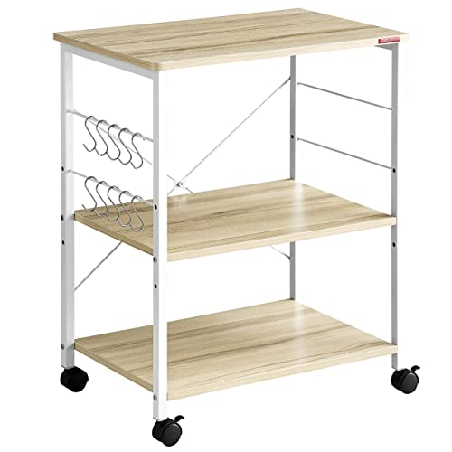 Mr IRONSTONE 3-Tier Kitchen Baker's Rack Utility Microwave Oven Stand Storage Cart Workstation Shelf Light Beige Top White Metal Frame